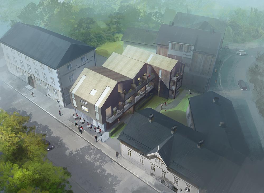 Myntgata 2 - leiligheter og næring i sentrum av Kongsberg.