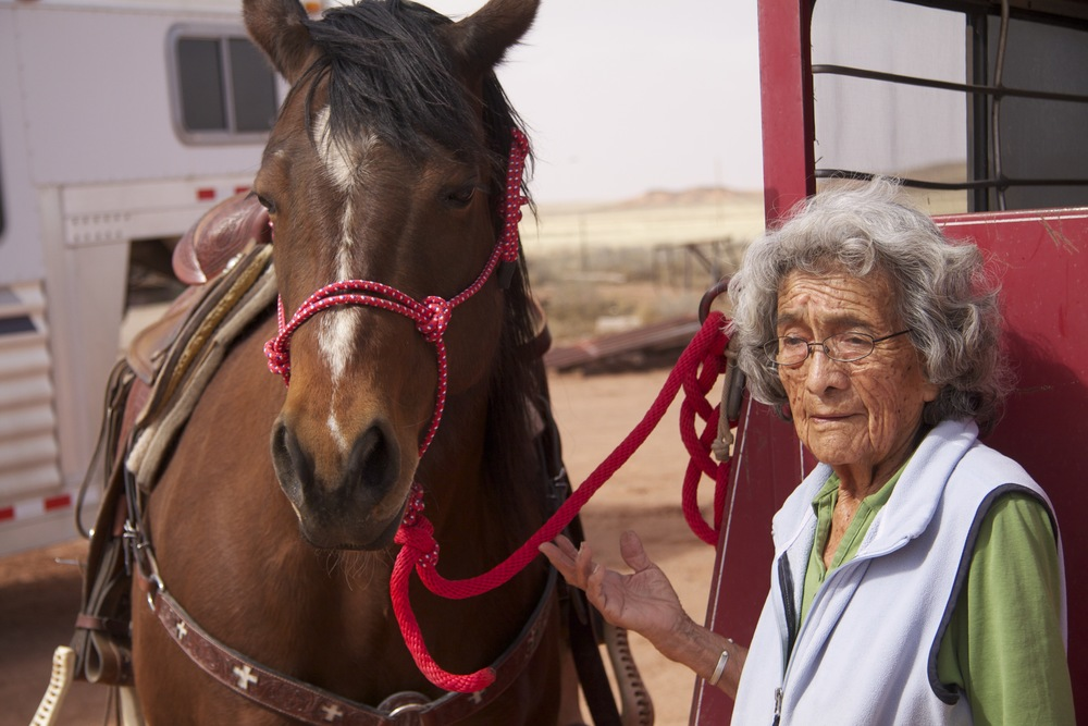 Nellie Nez on her family's ranch north of Winslow, Ariz.