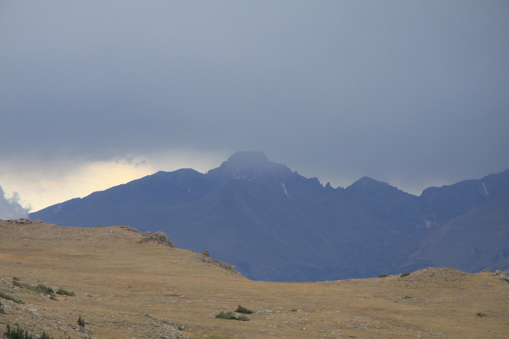 A thunderstorm envelopes Longs Peak along Trail Ridge Road at Rocky Mountain National Park, August 2009. Photo by Bobby Magill