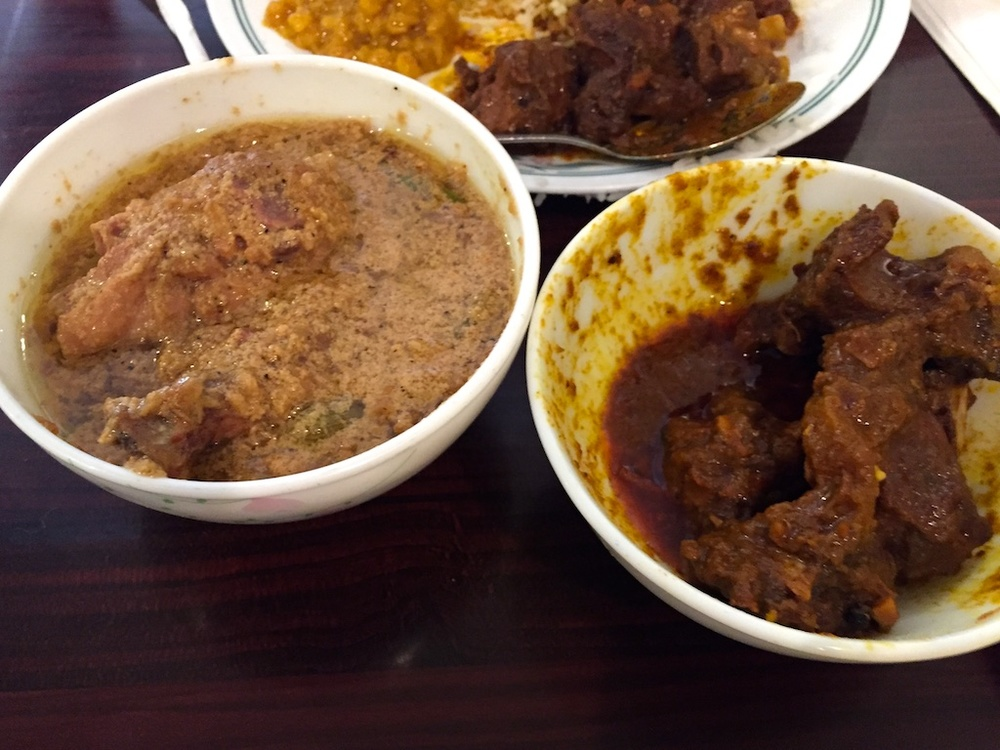 Goat curry on the right, chicken korma on the left.