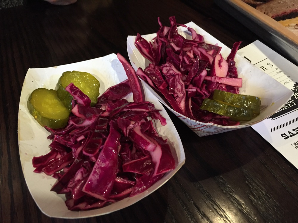 The brisket and turkey came with pickled red cabbage and sweet pickles. It was as good as it looks.