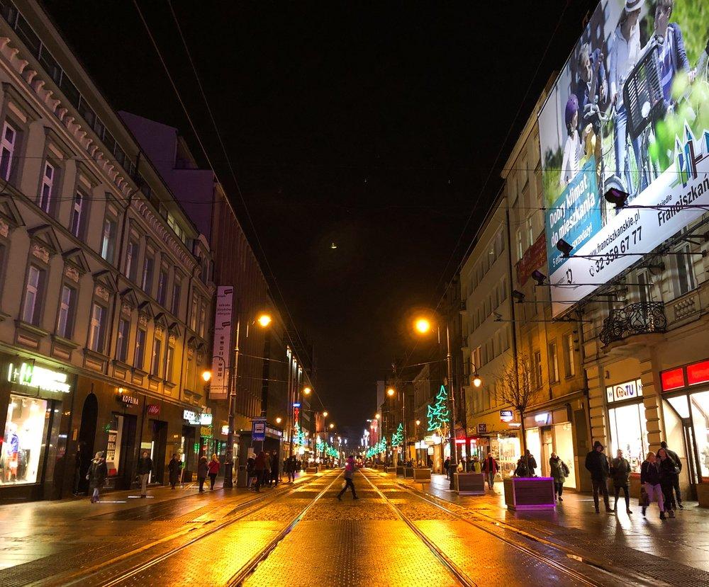 Katowice, Poland, at night. ©Bobby Magill