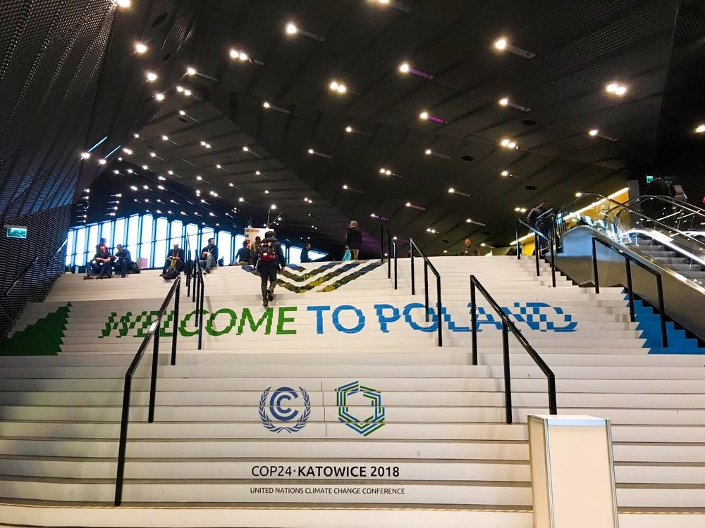 Poland rolled out quite the welcome mat for the 30,000 or so participants in COP24. This building, the International Congress Centre, is adjacent to the Katowice sports arena, or the Spodek. ©Bobby Magill