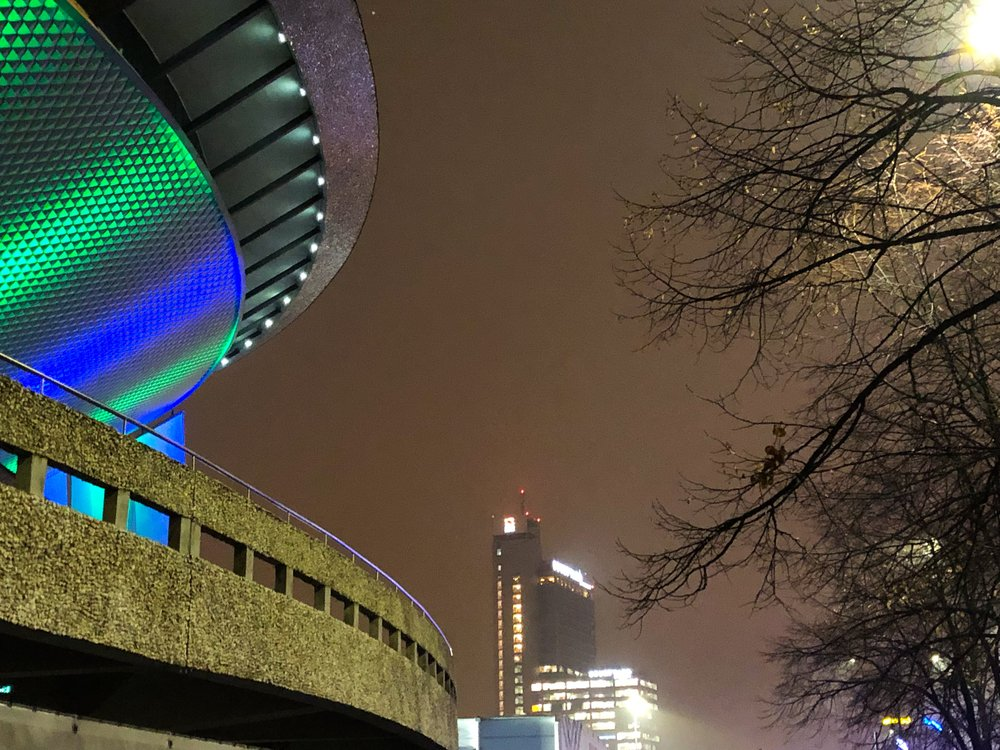 The Katowice Spodek, looking onto the Altus tower and the Marriott Courtyard Hotel in downtown Katowice. ©Bobby Magill