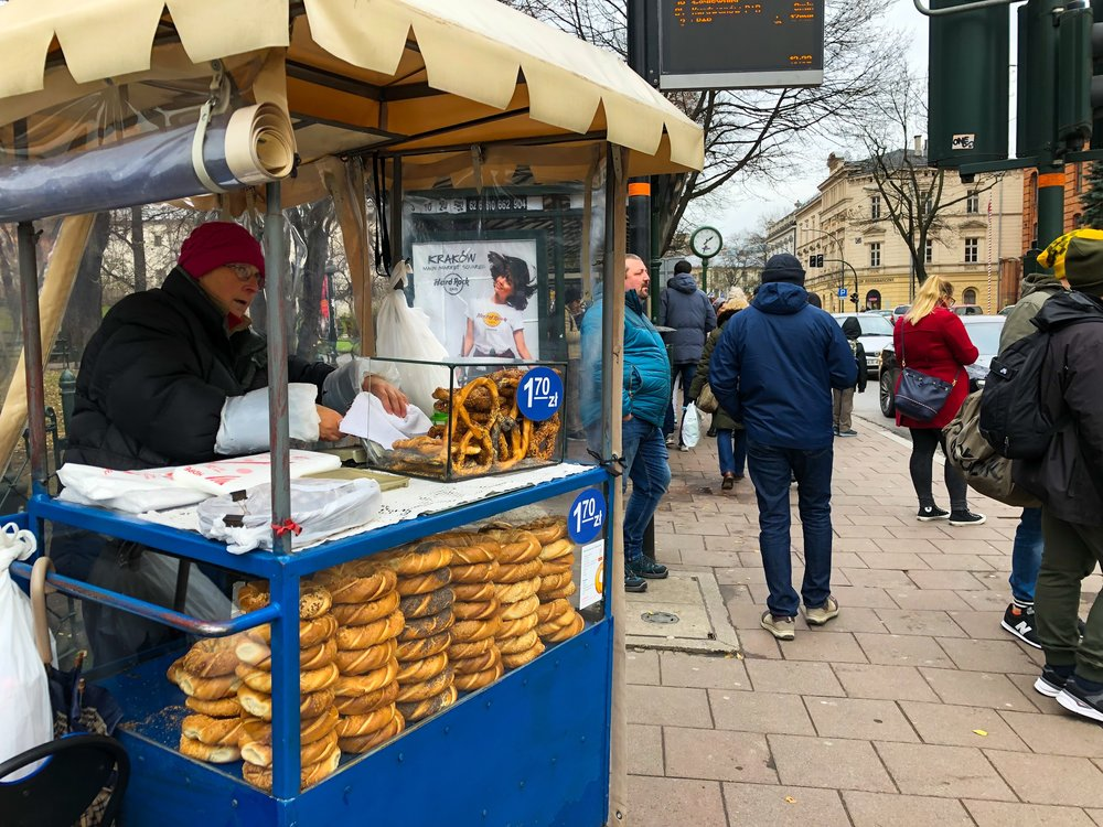 Pretzels and these round pretzel-like pastries are common street food in Poland, especially in Krakow. ©Bobby Magill