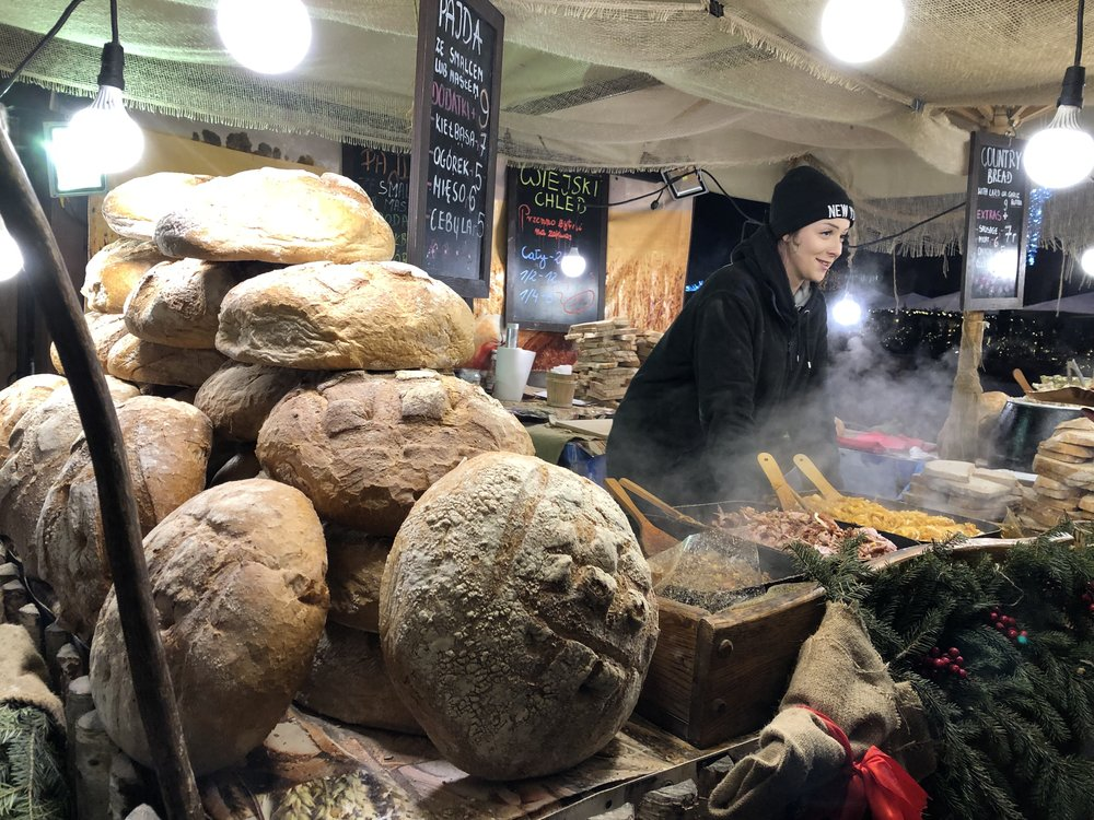 These bread loaves at a Christmas market in Krakow are about 18 inches or so in diameter. © Bobby Magill