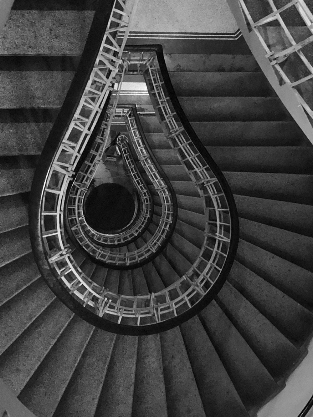 The famous stairway in Prague's Cubism Museum at the House of the Black Madonna. ©Bobby Magill