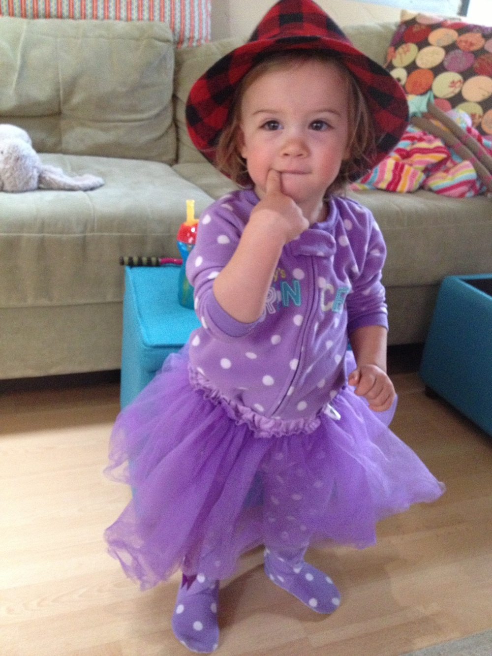 morning activities...footed pjs, tutu, hat, dancing