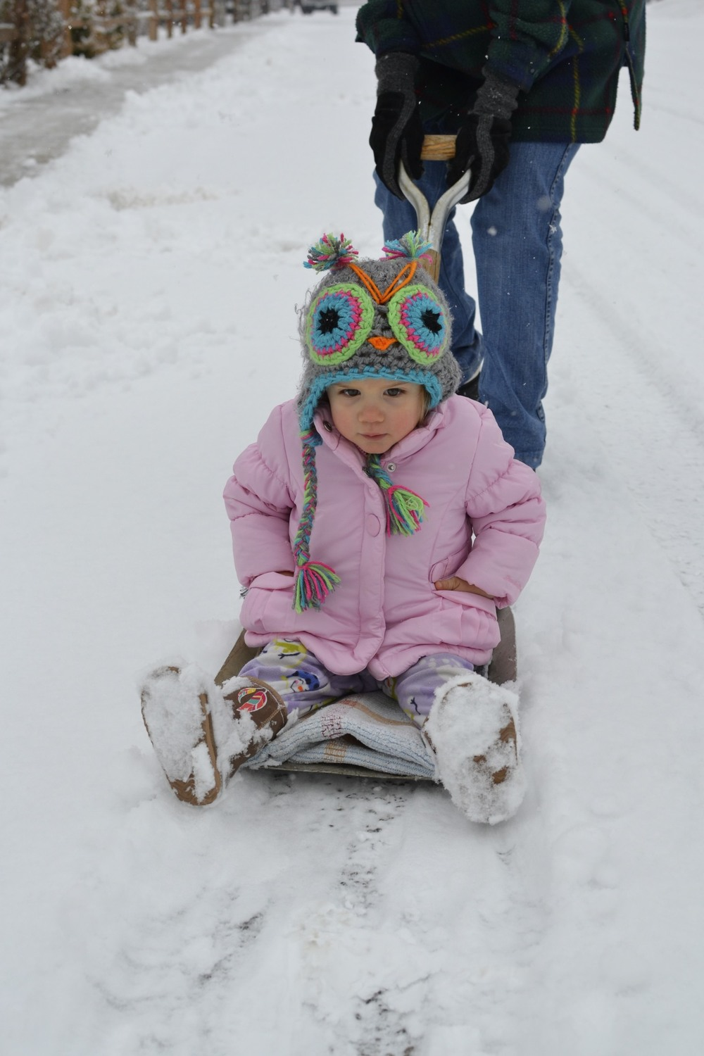 first snow shovel/sled ride!