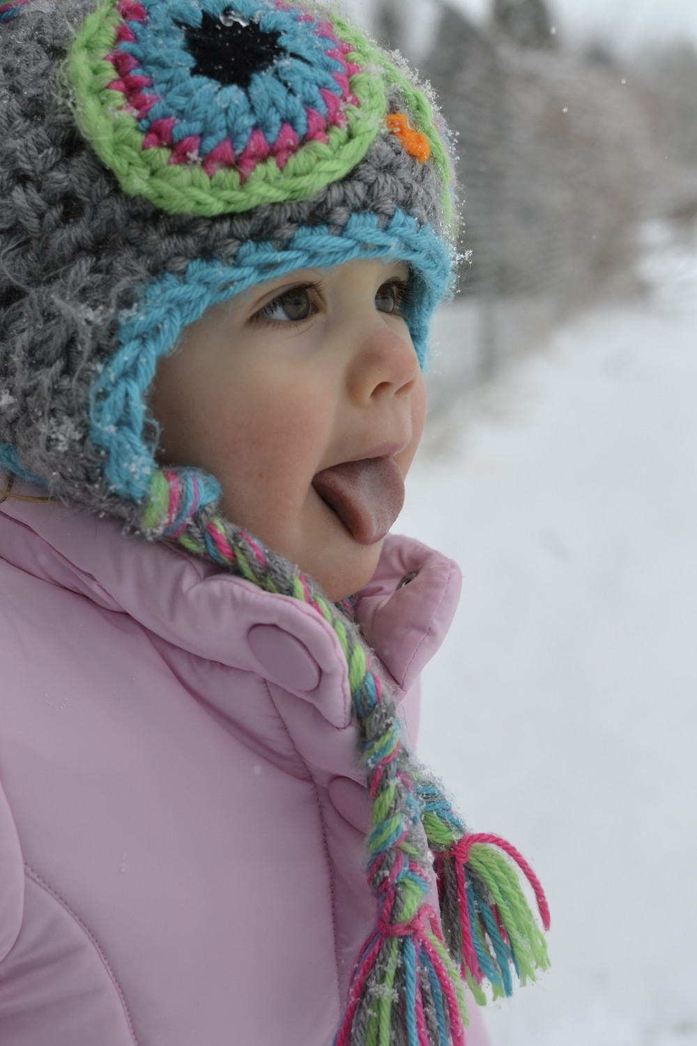 catching snowflakes