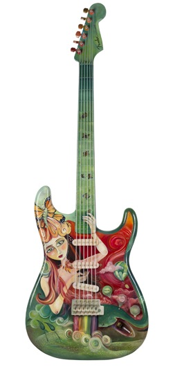 Growing Wings - a 10-ft-tall Fender® Stratocaster® painted by artist Jenna Fournier. Photo credit Don Snyder for GuitarMania.