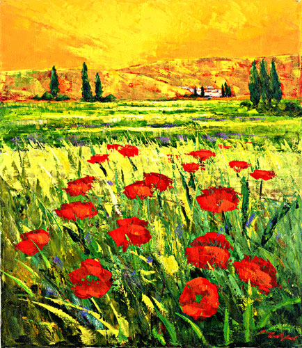 Orange Sky Poppies by Frederich Reiner