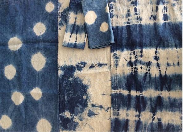 Belgian linen indigo dyed shibori table linens for Beams Planets