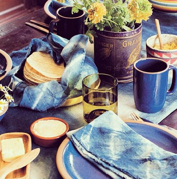 Antique cotton indigo dyed shibori napkins featured in Madame Figaro Magazine