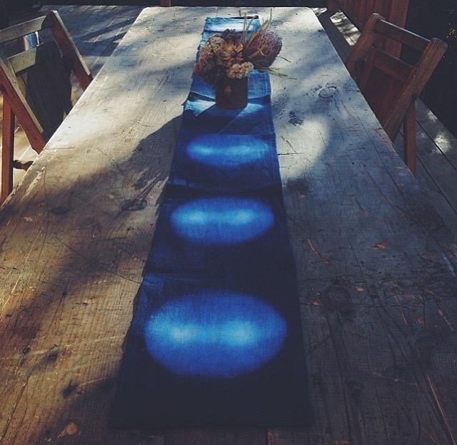 Custom Indigo Shibori Table Runner