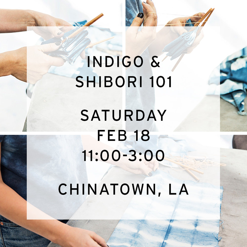 When:  Saturday Feb, 18th  11-3pm  What you'll learn:  How to create and properly use two types of food grade indigo vats  A basic introduction to the art of shibori and how to apply it to a three dimensional surface  What to bring: a few smaller side (tee/scarf/pillowcase/napkins) pre-washed items made from natural fibers (cotton/linen/silk)  nothing large or bulky (no blankets/sweatshirts)  What to wear: Old clothes and shoes you won't mind staining with indigo  Where: Chinatown, LA  Space for 12  $120  To save your space send payment via Paypal-  contact@lookoutandwonderland.com   or Venmo @lookoutandwonderland  Reservation fee is nonrefundable if cancelled less than 3 days in advance  You'll also have the opportunity to witness a true traditional fermentation vat, if she's in good health I will give a demonstration. It should be a good chance to see the color that a true indigo fermentation vat gives.  Please let me know if you're able to join.