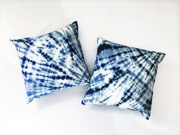 blue followmeinstead product pillows floor by stripes shibori indigo pillow