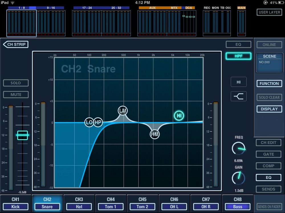 You can adjust EQ by using multi-touch on the iPad or selecting the controls and turning the encoder on the surface.