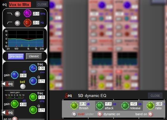 This is one of the things I'm still tweaking. This little dynamic EQ keeps the vocals from getting harsh as they get louder.