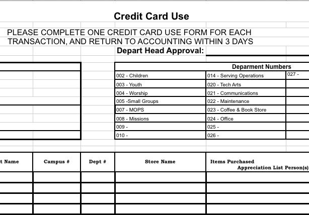 credit card reconciliation form  u2014 churchtecharts