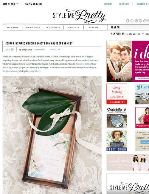 Featured on Style Me Pretty. Stationary design for a styled-wedding. Styled by House of Earnest and photography by Benjamin Lowry Photography.