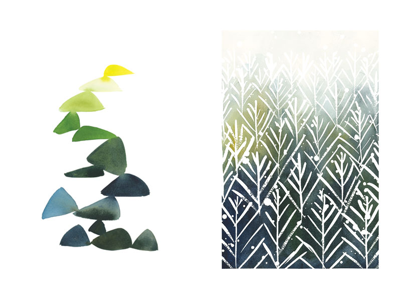 Triangles in Green and Yellow  for West Elm /  Evergreens  for West Elm