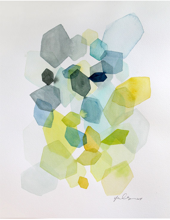 Hexagon in Green & Blue  / Yao Cheng