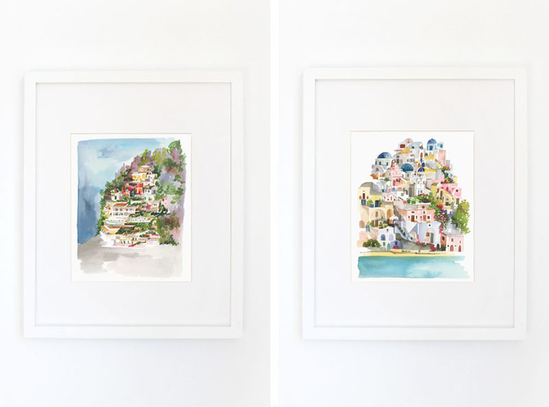 (left) Positano Art Print // (right) Santorini Art Print // ©2016 Yao Cheng Design, all rights reserved