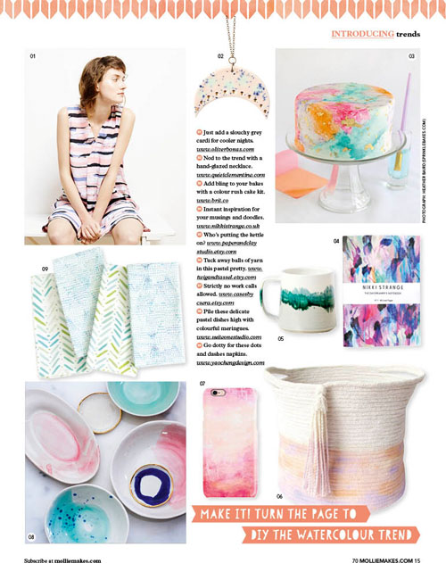 Feature of our textile napkins in issue 70 of Mollie Makes magazine.