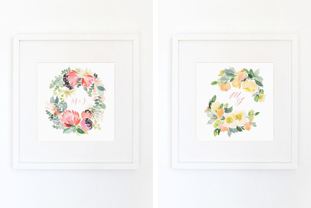 Lef  t //    Protea Wreath  Right //  White Peony Wreath