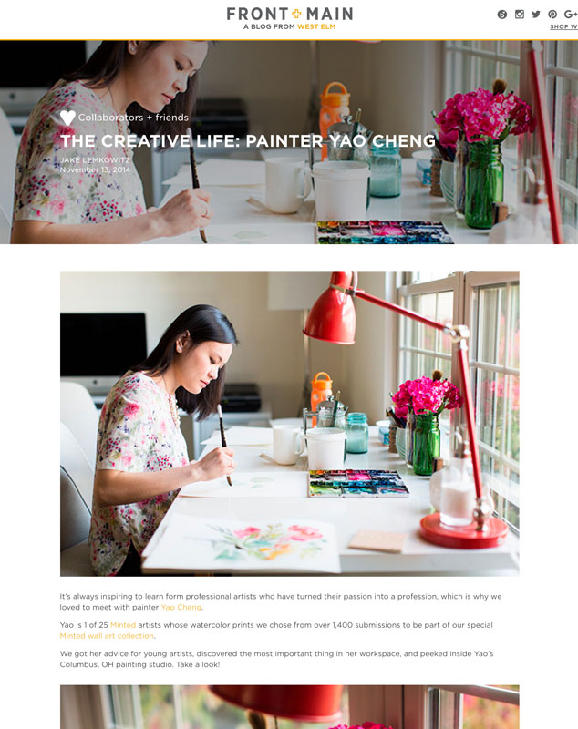 Interview with West Elm blog, Front + Main