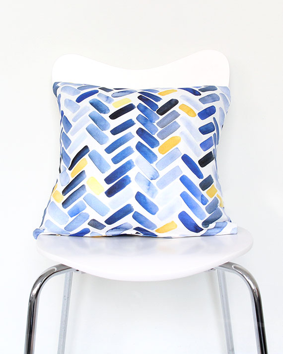 Blue & Yellow Herringbone