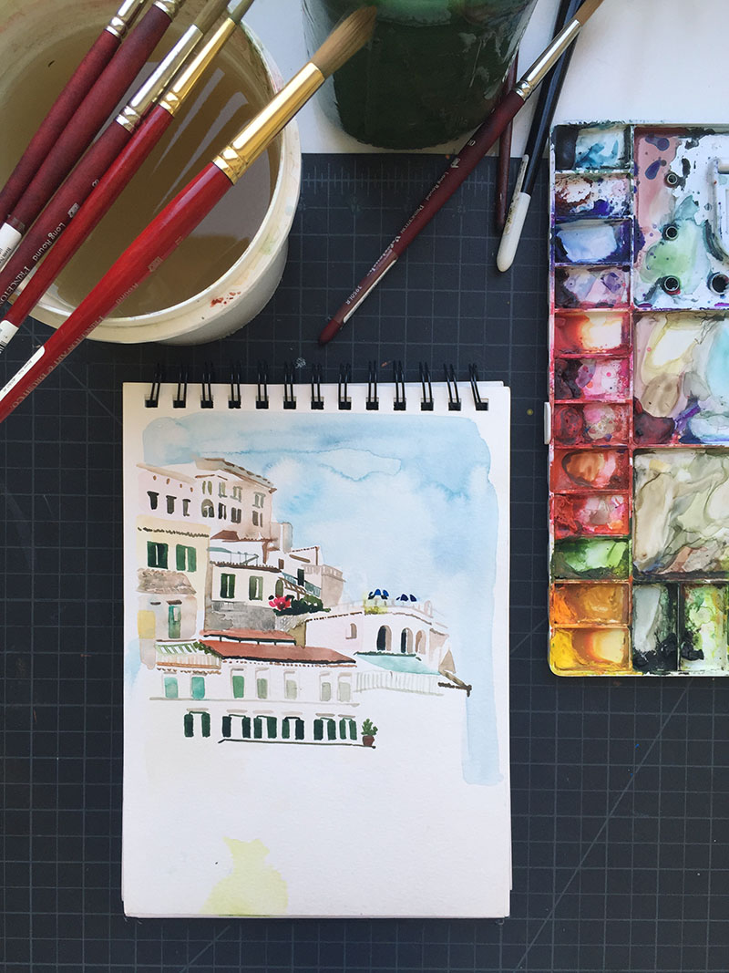 Yao Cheng Design- Amalfi Coast- Watercolor Sketchbook