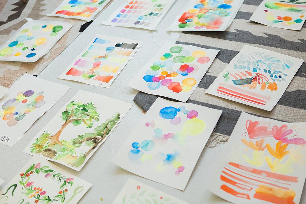 Yao Cheng Design- Beginner's Workshop Student Work- Watercolor Workshop Columbus Ohio