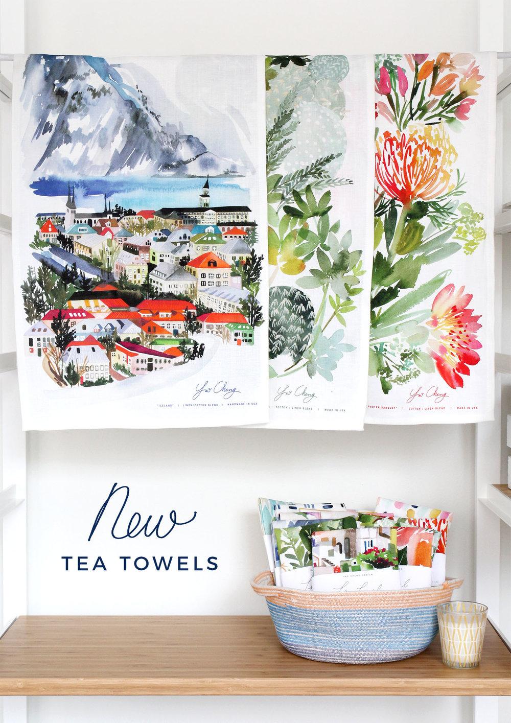 Yao Cheng Design- Fall 2017 Tea Towels- Watercolor Textiles