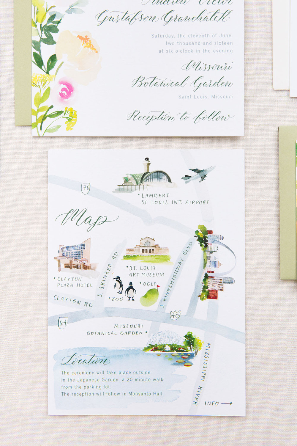 Yao Cheng Design- Elisabeth and Andrew- Watercolor Wedding Invitations Map