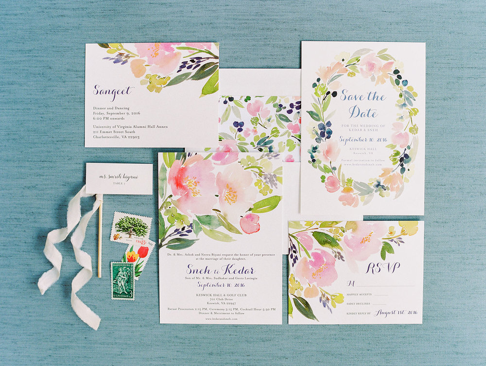 Yao Cheng Design- Minted Wedding Suite for Sneh + Kedar- Watercolor Wedding Stationery