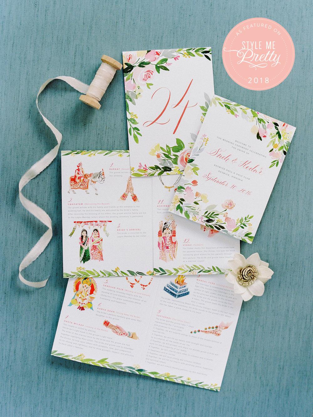 Yao Cheng Design- Wedding Program for Sneh + Kedar- Watercolor Wedding Stationery