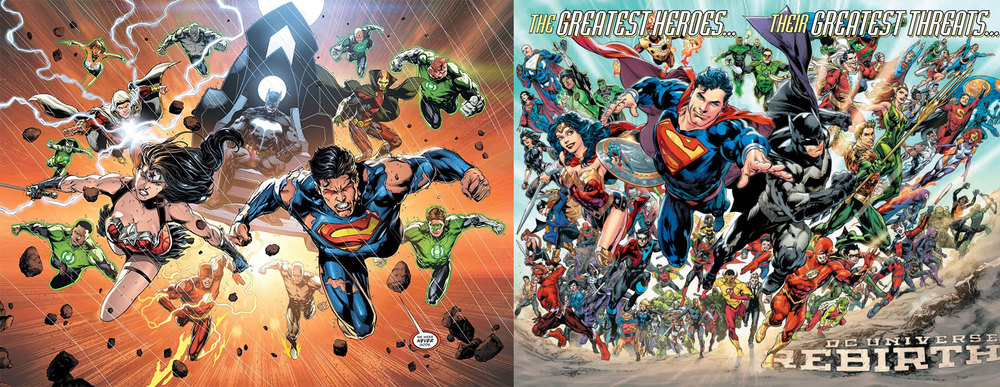 Even the splash pages from Justice League#50 (left) and DC Universe: Rebirth #1 (right)signal a change in tone. Grizzled warriors on the left turn into smiling, hopeful heroes on the right. It's like a microcosm for the shift that's happening. And both of these books were published on the same day!