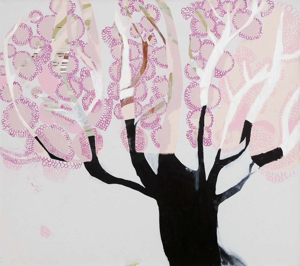 Peachy Keen  2014 Acrylic and charcoal on cotton canvas 137 x 152cm