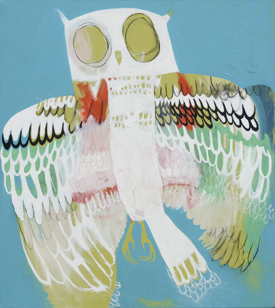 Sister Owl  2013 Acrylic and charcoal on cotton canvas 121 x 137cm