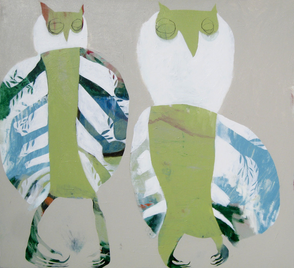 Owl Town  2011 Acrylic and charcoal on cotton canvas 137 x 152cm