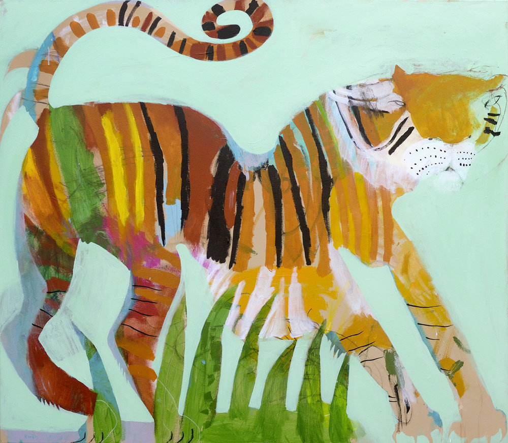 Tigress  2018 Acrylic and charcoal on canvas 121 x 137cm