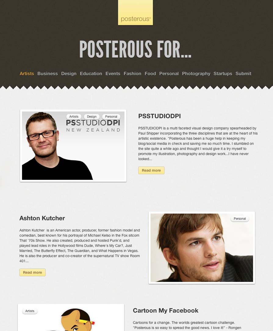 "PSSTUDIODPI is a multi faceted visual design company spearheaded by Paul Shipper incorporating the three disciplines that are at the heart of his artistic existence. ""Posterous has been a huge help in keeping my blog/social media in check and saving me so much time. I stumbled on the site quite a while ago and thought I would give it a try myself to promote my illustration, photography and design work...I have never looked back and I now recommend Posterous to everyone! Thank you Posterous for simplifying my workflow and keeping my clients and people who like what I do, informed of what I am doing with whichever social media track they choose to follow... Simply amazing."" - Paul Shipper Visit the site! Follow via examples.posterous.com"