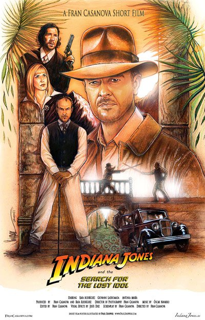 Official poster for Indiana Jones and the Search for the Lost Idol: illustrated by Paul Shipper