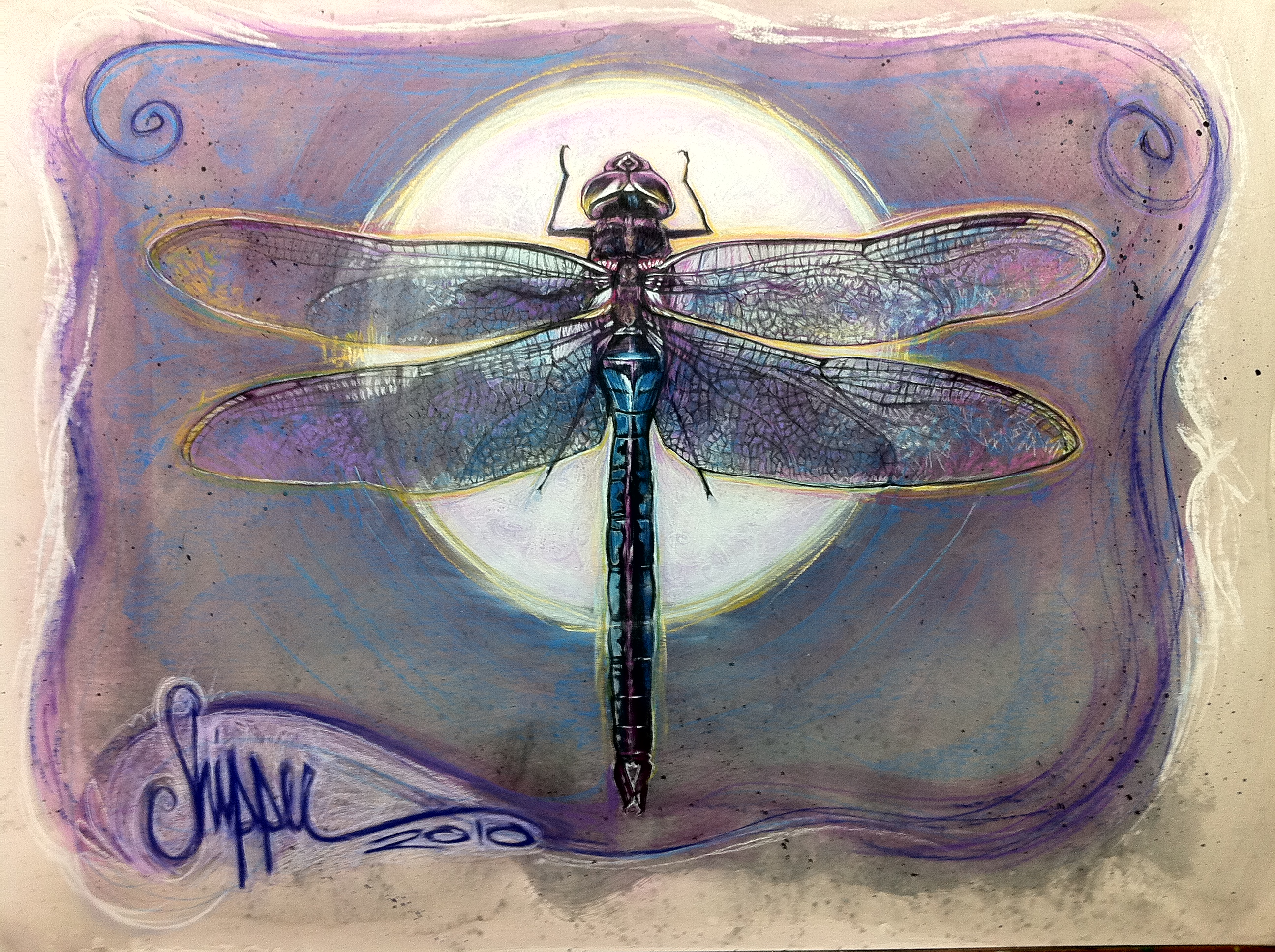 I thought i would share with you the latest painting to come out of the studio and the last before 2011. In case you haven't guessed, It is a dragonfly. And it was painted for a very special person...who likes dragonflies...and the colour purple.