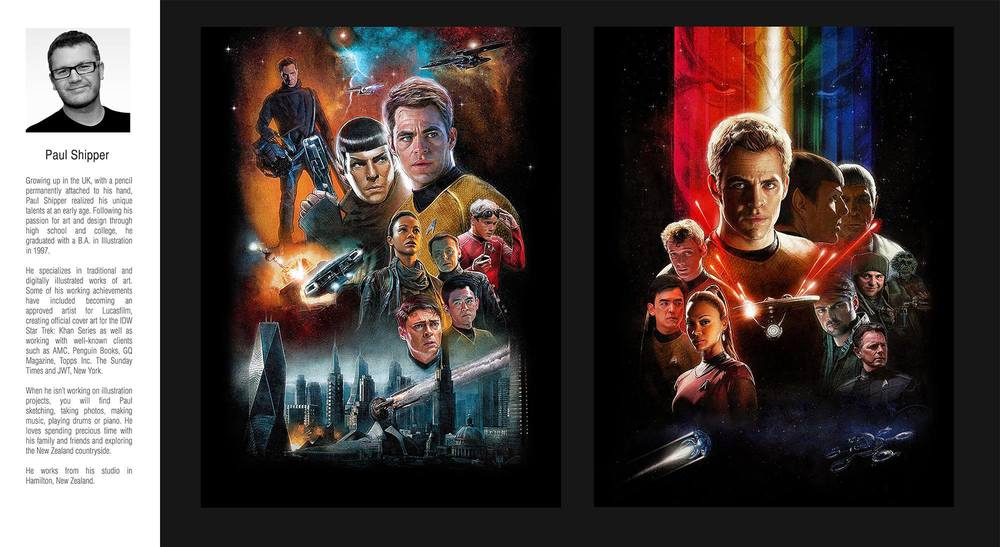 "18"" x 24"" Fine Art Giclee prints of the 2009 version of 'STAR TREK', and 'STAR TREK: Into Darkness' by Paul Shipper. JJ Abrams, Simon Pegg and Karl Urban each have prints from this very small run. A collectors dream poster to say the least!"