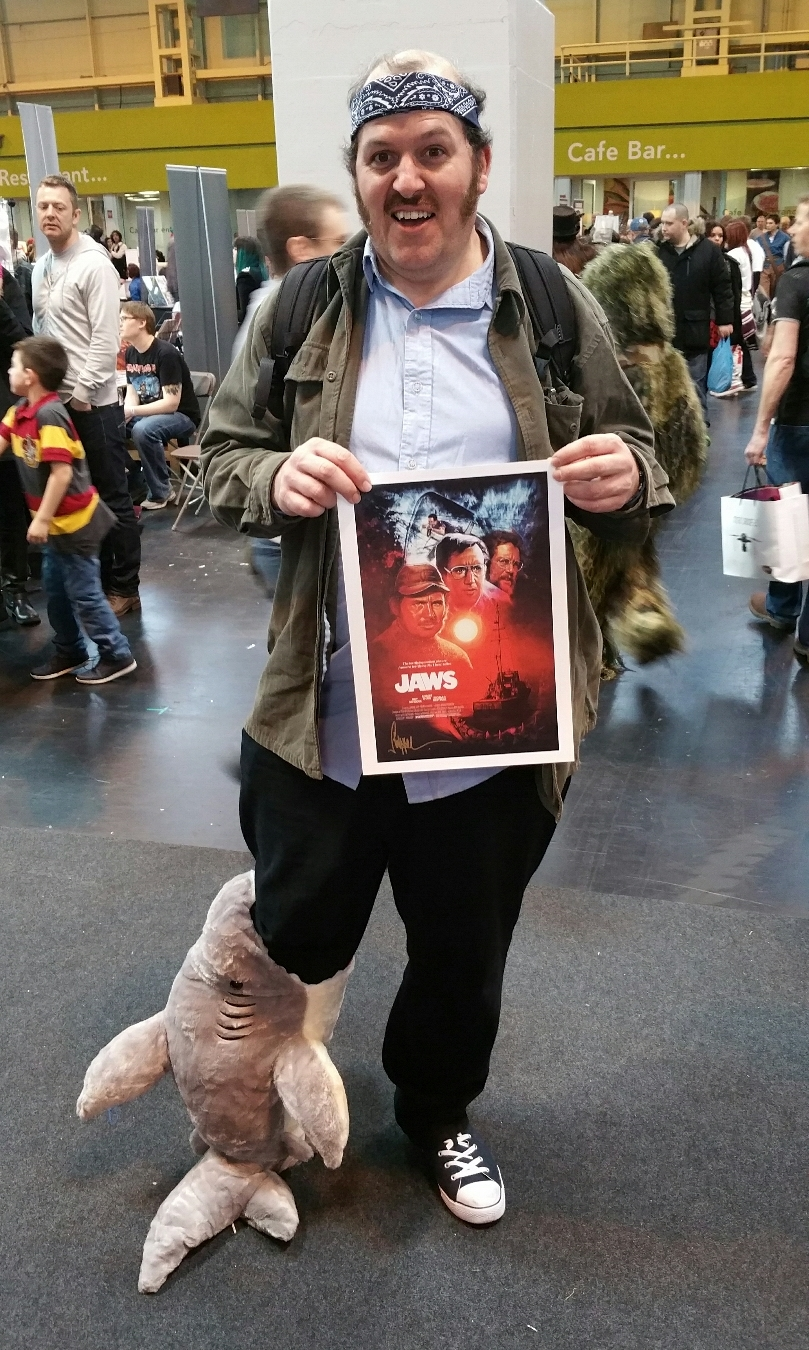 A Quint cosplayer snagged a mini Jaws print.