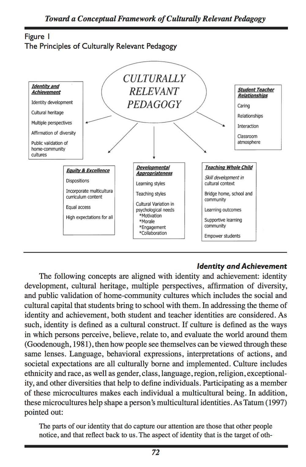 A Conceptual Framework for Culturally Relevant Pedagogy