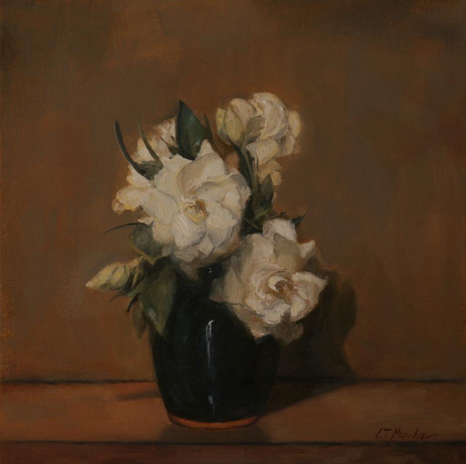 Gardenias in an Indigo Vase